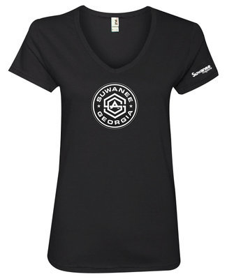 Suwanee Georgia Ladies V-neck T-shirt - Black