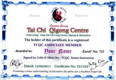 Tai Chi Qigong Centre Associate Membership: