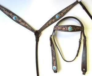 T6002 Turquoise Buckstitch Headstall and Breast Collar Set