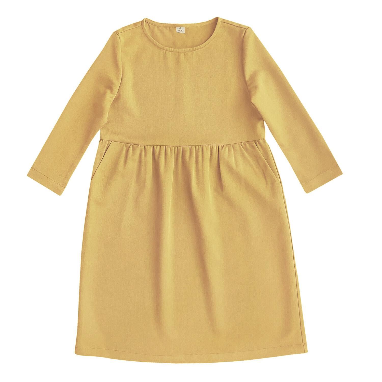 Платье взрослое горчичное
