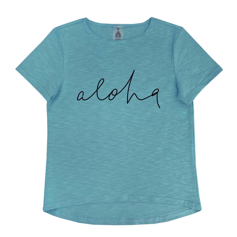 """Футболка """"Aloha"""" бирюзовая (взрослые и детские)"""