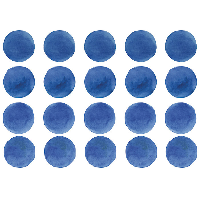 Интерьерная наклейка Watercolor Polka Dots — синий