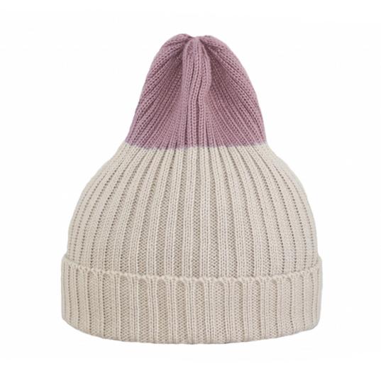 Двухцветная шапка Tamanegi бежевая/пыльно-розовая
