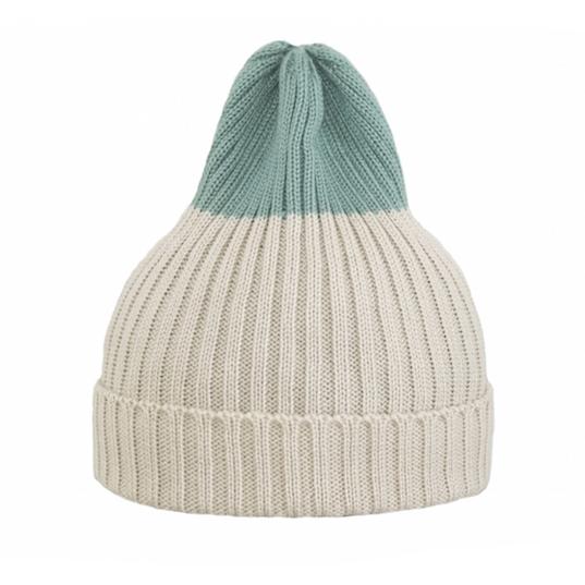 Двухцветная шапка Tamanegi бежевая/светло-бирюзовая