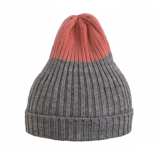 Двухцветная шапка Tamanegi серая/коралл