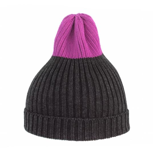 Двухцветная шапка Tamanegi антрацит/фуксия