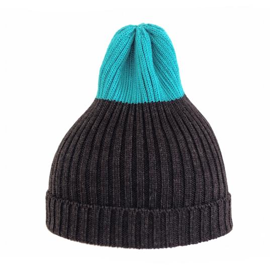Двухцветная шапка Tamanegi антрацит/голубая