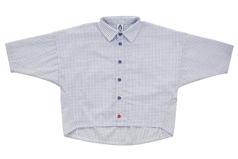 Рубашка унисекс белая в синюю клетку + красная пуговка