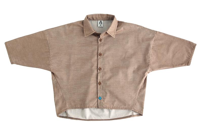 """Рубашка унисекс коричневая """"джинс"""" + бирюзовая пуговка"""