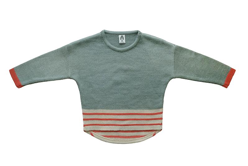 Вязаный свитер серо-голубо-зелёный + коралловые полоски