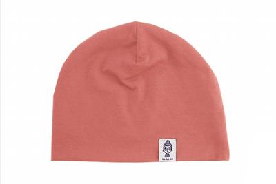 Трикотажная шапка розово-коралловая
