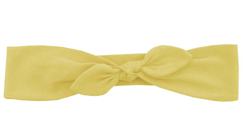 Трикотажная повязка с бантиком нежно-желтая