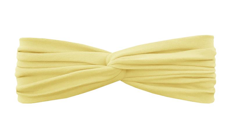 Трикотажная повязка перекрученная нежно-желтая