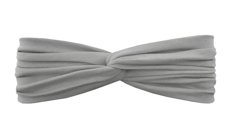 Трикотажная повязка перекрученная серая sharkskin