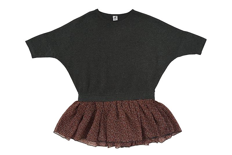 Трикотажное платье с шифоновой юбочкой темно-серое