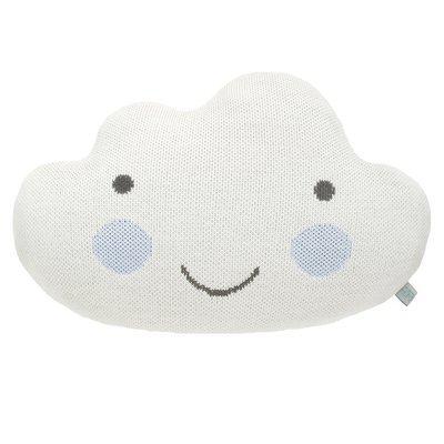 Подушка-облако белая с голубыми щёчками