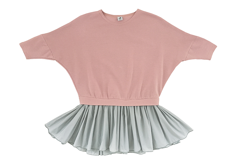 Трикотажное платье с шифоновой юбочкой розовое