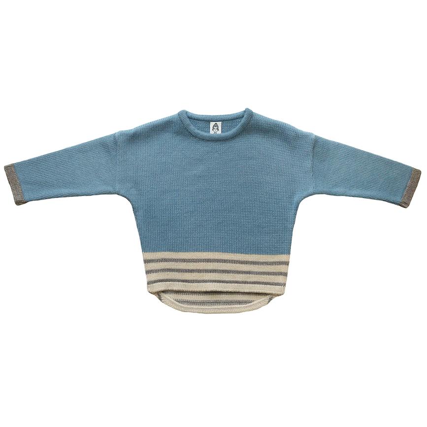 Вязаный свитер серо-голубой + серые полоски