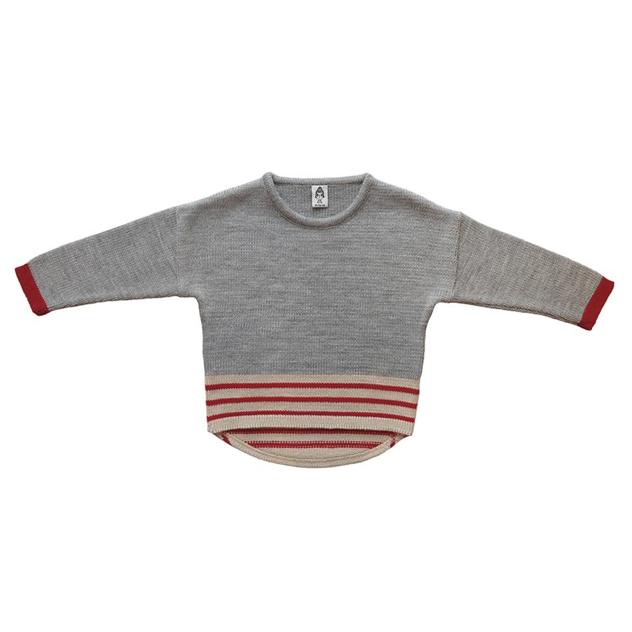Вязаный свитер серый + тёмно-красные полоски