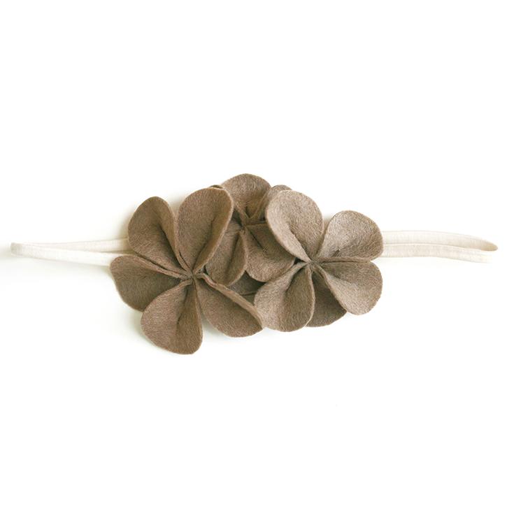 Фетровое украшение — светло-коричневое на кремовой резинке