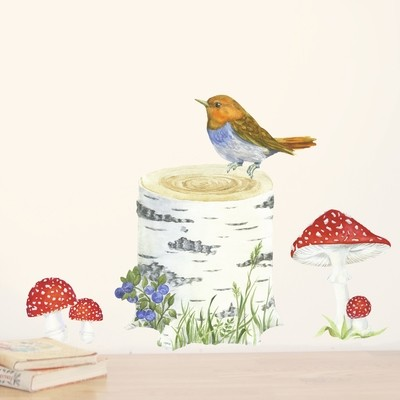 Интерьерная наклейка «Пенёк с птичкой + мухоморы»