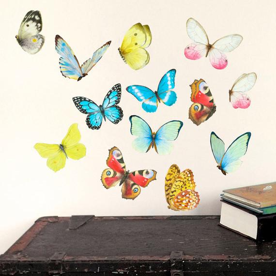 Интерьерная наклейка «Бабочки 13шт» размер S
