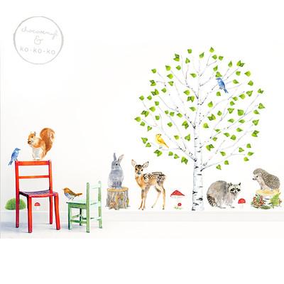 Интерьерная наклейка «Берёза + большой набор животных из 15 элементов»