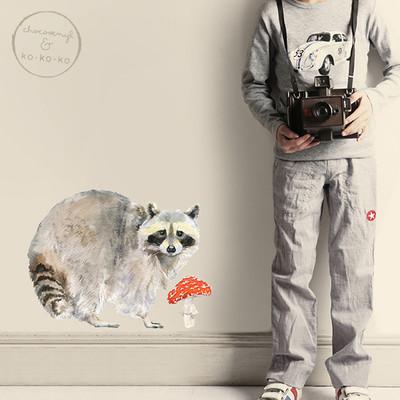 Интерьерная наклейка «Енот + мухомор»