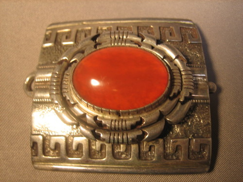Carnelian Belt Buckle Sterling