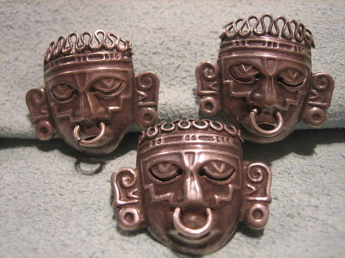 Mayan Earrings and Broch Sterling Silver