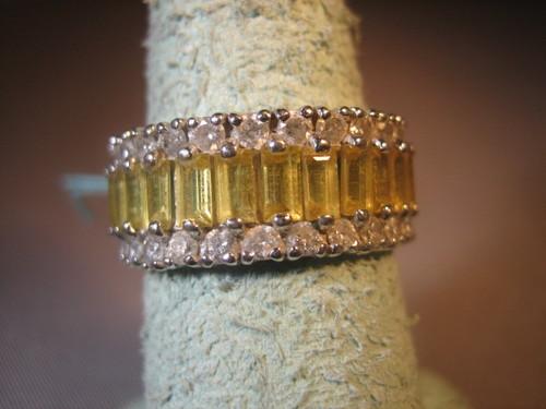 Diamond and Yellow Sapphire Anniversary Ring 14 Karat Gold