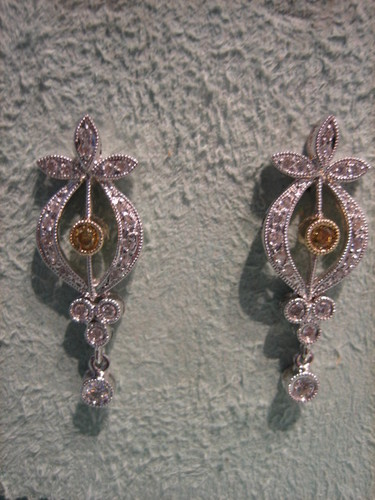Yellow Diamond White Diamond Earrings 18 Karat Gold