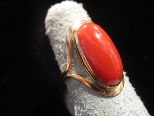 Red Coral Ring 14 Karat Gold