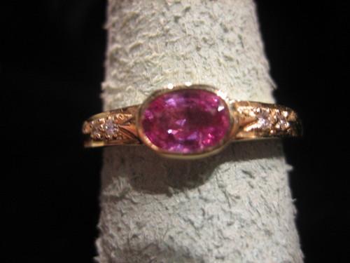Pink Sapphire and Diamond Ring 14 Karat Yellow Gold