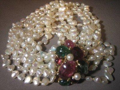 Tourmaline and Pearl Bracelet 14 Karat Gold Large Designer Bracelet