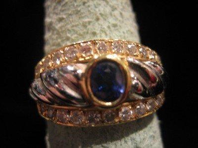 Sapphire and Diamond Ring 18 Karat Gold