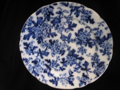 Mercer Pottery Blue and White Plate Plum Blossom