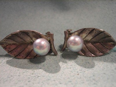 Ming's Blue Grey Pearl Earrings Sterling