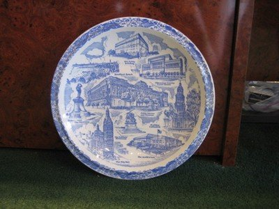 Vernon Kilns Milwaukee Plate Blue and White