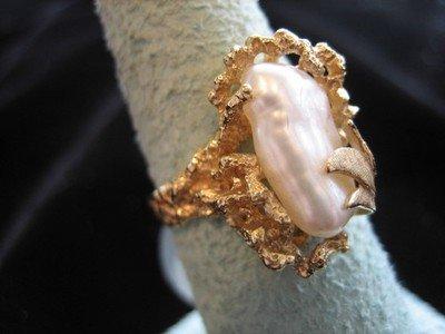 Biwa Pearl Ring 14 Karat Gold Ring Large Pearl