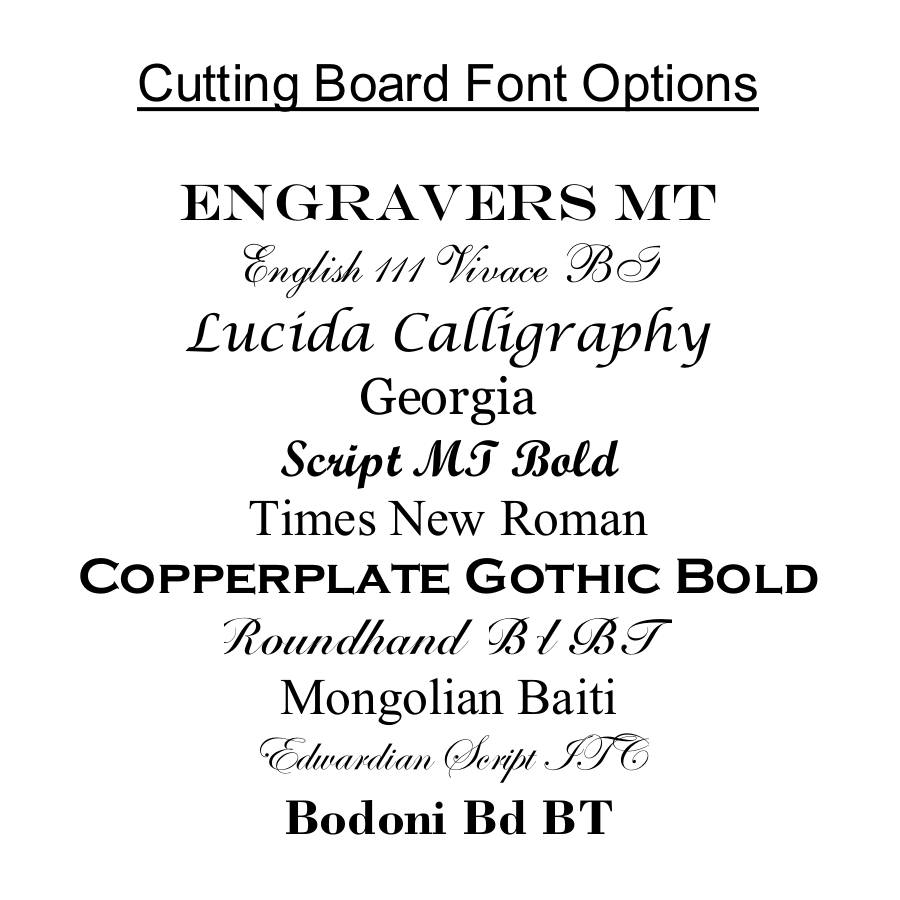 Personalized Cutting Board, Custom Engraved Bamboo Cutting Board-15 x 12 Handle Font Options