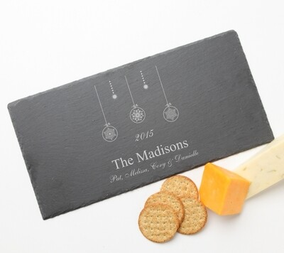 Personalized Slate Cheese Board Custom Engraved Slate Cheese Board 15 x 7 HOLIDAY
