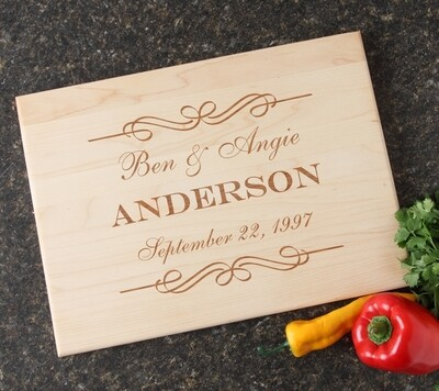 Personalized Maple Wood Cutting Board 15 x 11 DESIGN 9