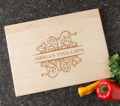 Personalized Maple Wood Cutting Board 15 x 11 DESIGN 4