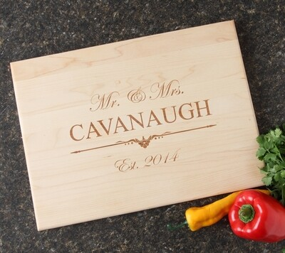 Personalized Maple Wood Cutting Board 15 x 11 DESIGN 19
