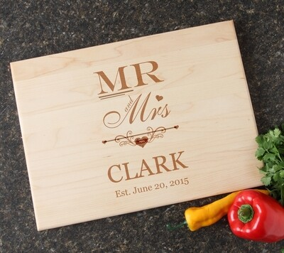 Personalized Maple Wood Cutting Board 15 x 11 DESIGN 21