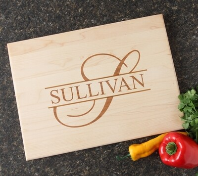 Personalized Maple Wood Cutting Board 15 x 11 DESIGN 25