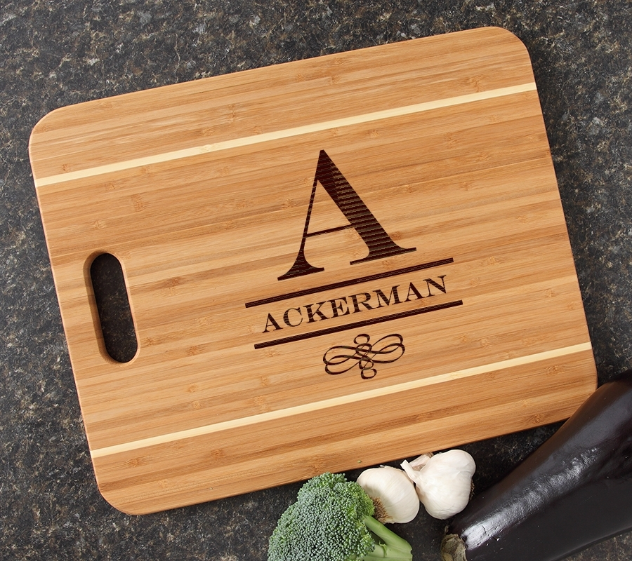Personalized Cutting Board Engraved 15x12 Handle DESIGN 12 CBA-012