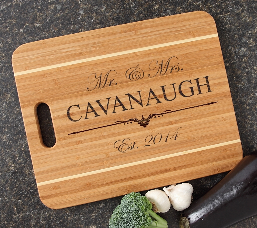 Personalized Cutting Board Engraved 15x12 Handle DESIGN 19 CBA-019