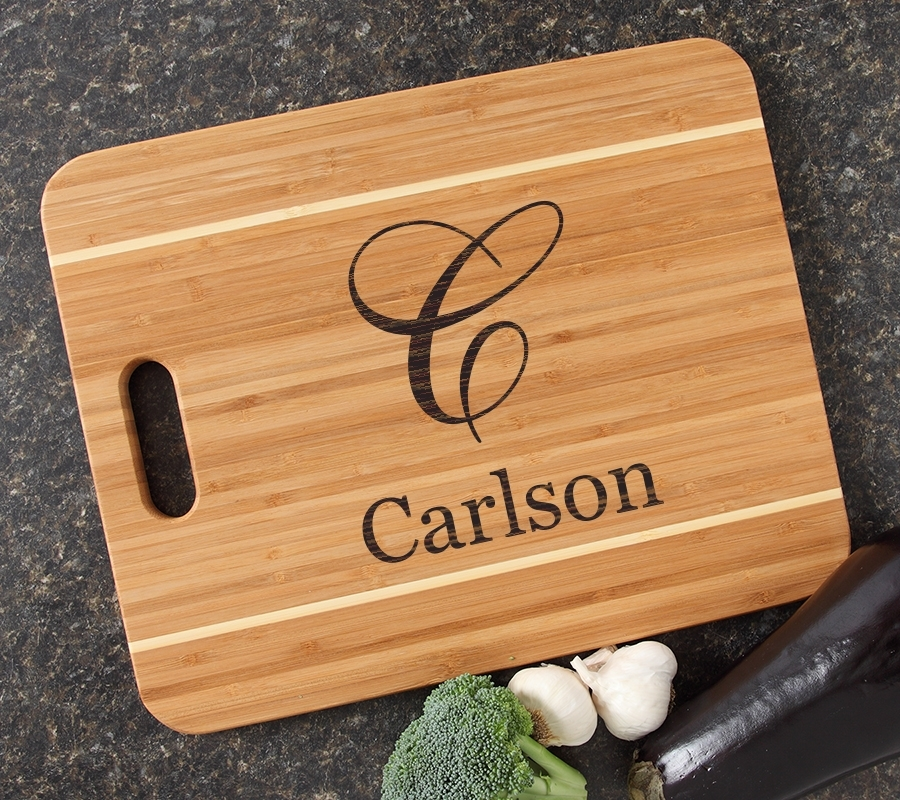 Personalized Cutting Board Engraved 15x12 Handle DESIGN 3 CBA-003